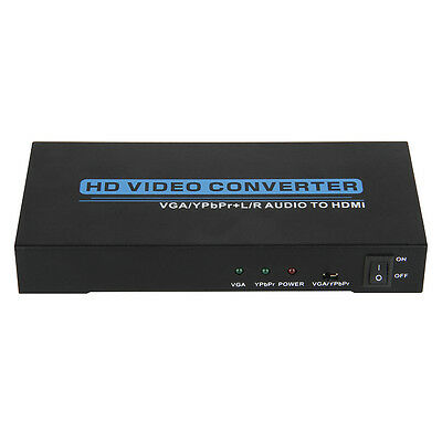 VGA YPbPr+R/L Audio to HDMI Video Converter Scaler Composite Component DVD US