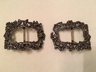 Antique Victorian 800 Sterling Ornate Shoe Buckle Clips