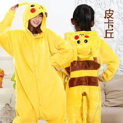 Hot Unisex Onesie Kigurumi Pajamas Anime Cosplay Costume Dress Pikachu Sleepwear