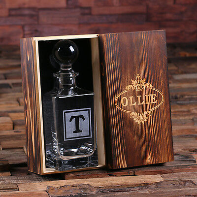 Personalized Whiskey Decanter w/ Round Bottle Lid and Wooden Box Engraved