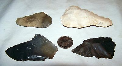 Four (4) Long Chert Arrowhead Spear Celt Scraper Stone Tools from Tennessee A2