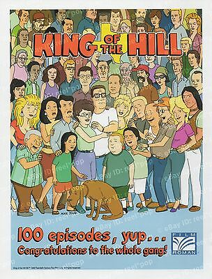KING OF THE HILL Congratulations 100 Episodes RARE 1999 INDUSTRY AD Full Cast