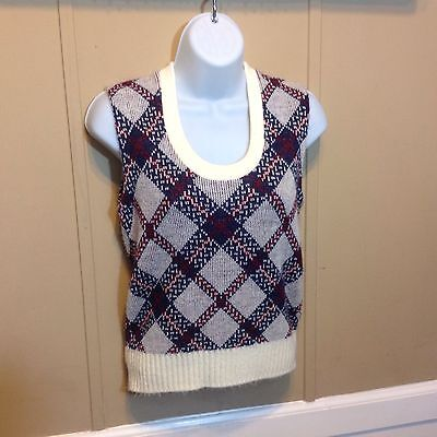 Vintage 60S Red White Blue Cute Little Sweater Vest / Ladies / Small
