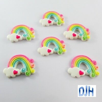 6pcs DIY Resin Rainbow Cabochon Flat Back Cards Scrapbooking Hair Clips