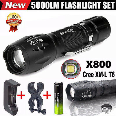G700 X800 5000LM T6 LED Flashlight Zoomable Military Bike Cycling Torch Set