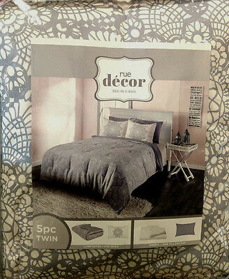 Rue Decor Light Gray Geo Bed In A Bag 5 Piece Twin Comforter Set