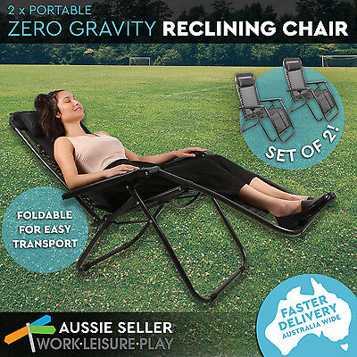 2 x Zero gravity outdoor portable foldable reclining lounge camping beach chair