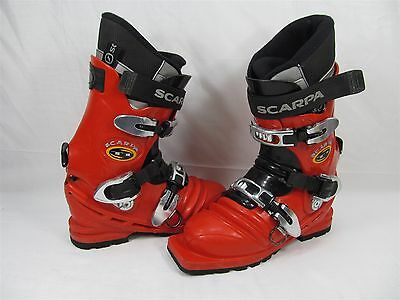 Scarpa T1 Telemark Ski Boots Mens Size 5 Us Tele Boots Red