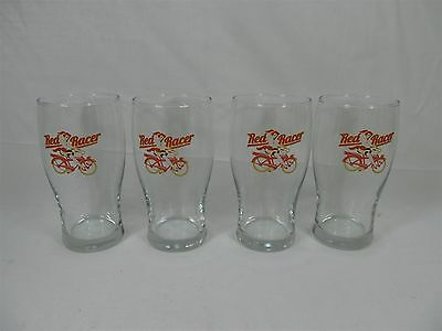 RED RACER BEER SET OF FOUR 20oz LARGE DRAFT GLASSES REDHEAD BICYCLE BC BEER