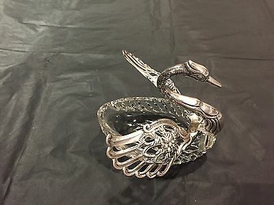 Vintage Large Crystal With Silver 835 Swan