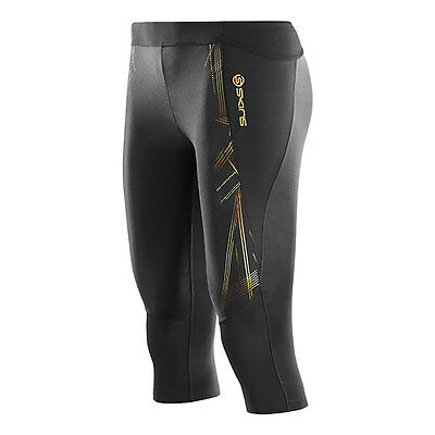 Skins A400 Womens Compression 3/4 Tights - Black/Gold