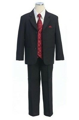 Boys' Black Pinstripe Suit with Vest, Tie and Pocket Square