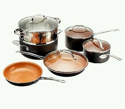 Gotham Steel 10-Piece Kitchen Nonstick Frying Pan and Cookware Set pots and pans