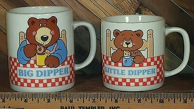 Avon Gift Collection Big & Little Dipper 6 & 10 ounce Mug with Father & Son bear