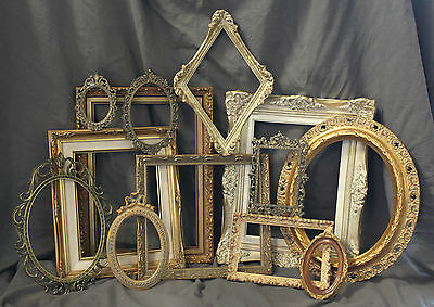 Lot of Ornate White & Gold Open Picture Frames Antique Vintage Shabby Chic Italy