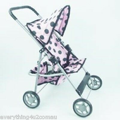 Pink With Black Polkadot Baby Doll Stroller Pram With Hood And Basket 60Cm High