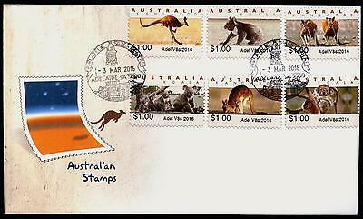 ADELAIDE V8s 2016 Kangaroo / Koala $1 CPS Counter Printed Stamps FDC First Day!