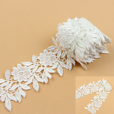 2 Yards Bridal Lace Trim DIY Ribbon for Wedding Dress Embroidered Sewing Craft