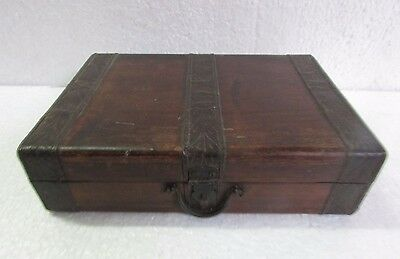 Vintage old Handcrafted Iron Fitted Wooden Box /letter Storage Box Collectible