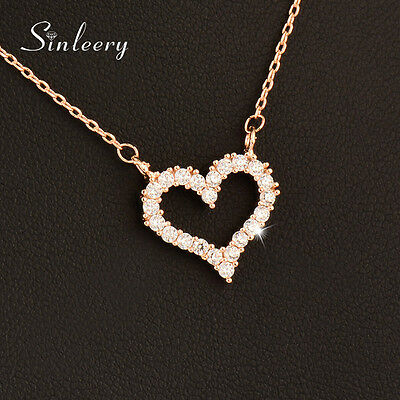 Romantic Crystal Hollow Heart Choker Necklace For Women Lady Girl 18K Gold GP