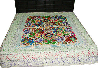 Indian Antique Peacock Embroider Kashmiri Bedsheet Bedspread Long Tapestry Throw
