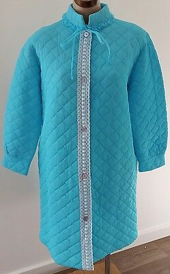 Vintage 1960s The Rose Gown AQUA BLUE Quilted Short Robe Dressing Gown size 12