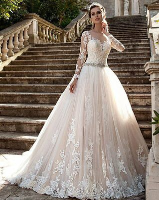 Vintage Long Sleeve Lace Wedding Dress Princess Scoop Neck Ball Gown Bridal Gown