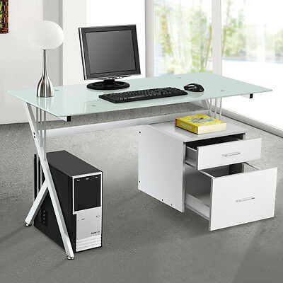 Computer Desk PC Table Home Office Workstation Furniture Glass Top&Side Drawer