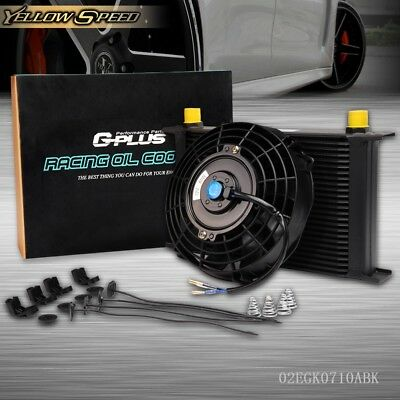 """Black Universal 25 Row 10AN Engine Transmission Oil Cooler + 7"""" Electric Fan Kit"""