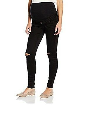 New Look Supper Skinny Maternity Black Over Bump  Jeans Trousers Ripped Knee