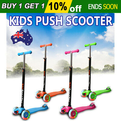 2017 Light Weight 3 Wheels Flashing Kids Push Scooter Adjustable Height Toy Gift