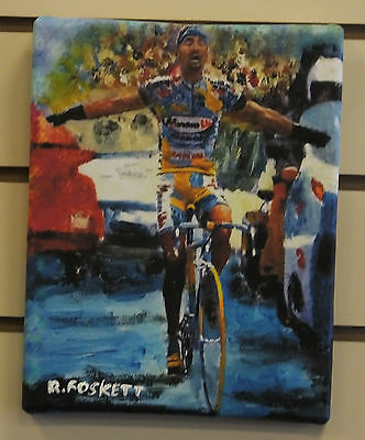 Marco Pantani,  Cycling print on streched cotton canvas ready to hang 10X8 Inch