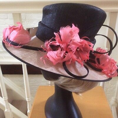 Stunning Jacques Vert Black Cream Coral Pink Feather and Twist Sinamay Hat