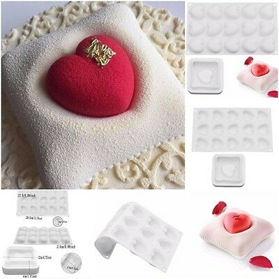 2PCS Silicone Romantics Heart Pillow Shaped Kit Molds For Chocolate Brownie Cake