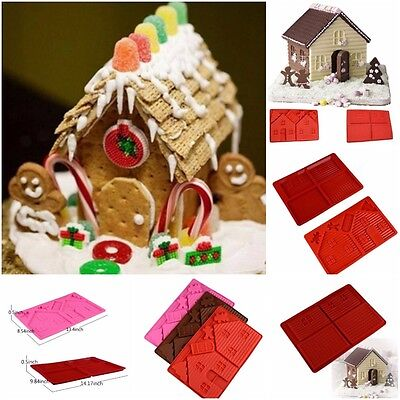 2PCS Silicone 3D Gingerbread and Chocolate House Mold For Christmas Tree Lovely