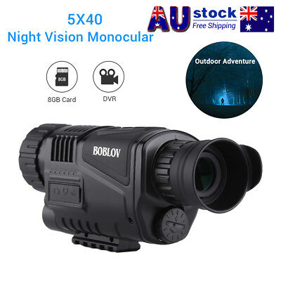 "5x40 Monocular Infrared IR 1.44"" LCD Zoom Night Vision Camera Video Photo DVR 8G"