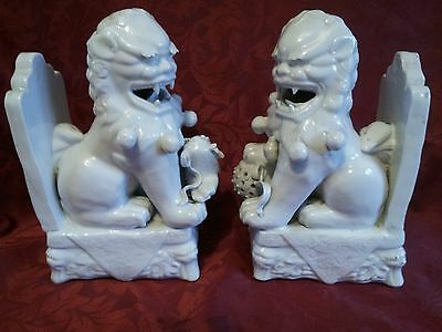 Large Pair Chinese Blanc De Chine Foo Dog Bookends . Lion Dogs