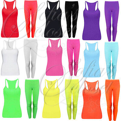 Kids Girls Lycra Leggings and Matching Vest Neon Bright Dance Gymnastics Sport