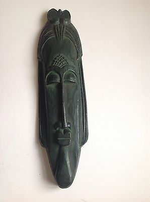 MASK VINTAGE AFRICAN HAND CARVED WOOD TRIBAL ART WALL HANGING 47cm ARTISAN++12++