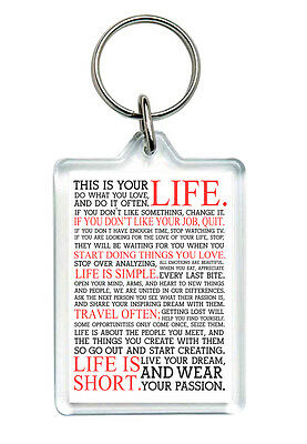 "Quote Keyring This is your life..."" Incl. Gift Box - Inspirational Motivate"