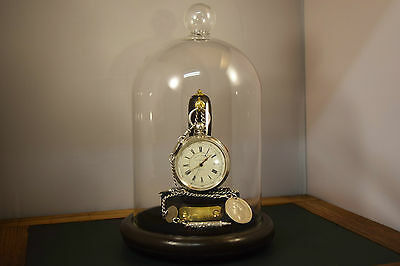 Antique Chronograph Pocket Watch Serviced Large Solid Silver with Chain & Stand