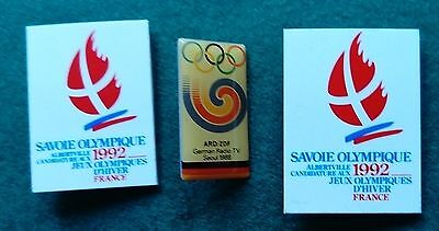 1988 Seoul and 1992 Albertville Olympic logo pin badges
