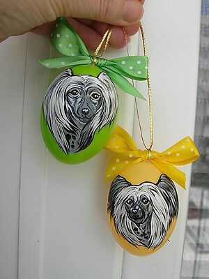 2 Chinese Crested Egg   Handpainted Ornaments -2