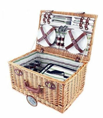*BRAND NEW* Unused & Sealed 4 Person Deluxe Wicker Picnic Basket with Cooler Bag