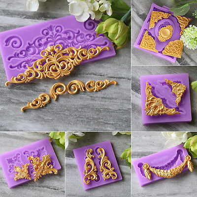 Relief Baroque Silicone Fondant Mould Cake Border Icing Paste Decorating Mold
