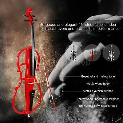 ammoon 4/4 Full Size Electric Cello in Style 1 +Tuner Headphone Gig Bag L7U0