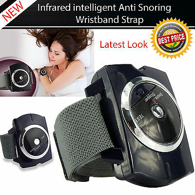 Anti Snore Stopper Intelligent Wristband Device Infrared Stop Snoring Aid UK