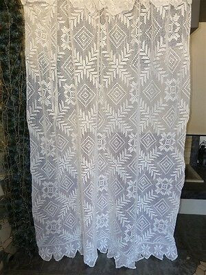 Vintage retro shabby chic hand-crocheted cotton lace curtain/ bedspread/ throw