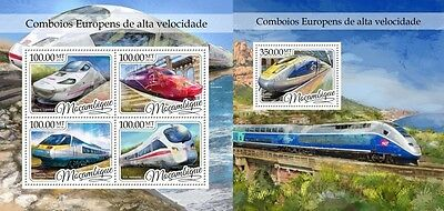 Z08 IMPERFORATED MOZ16409ab MOZAMBIQUE 2016 European fast trains MNH ** Postfris