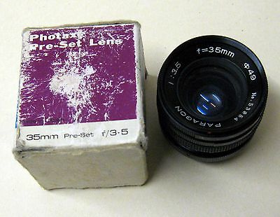 Paragon 1:3.5 F=35mm analogue camera wide angle lens in box